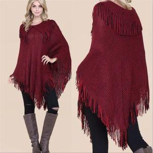 Sweaters - WARM BURGUNDY FRINGE WOMENS PONCHO SWEATER